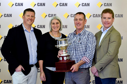(L TO R) MR GEOFF WEARNE (COMM BANK EXECUTIVE GEN. MAN. REGIONAL AND AGRIBUSINESS BANKING) LYN AND GREG RUMMERY (AWARDEE OF THE BROWNHILL CUP) AND TIM HARVEY (NSW STATE MANAGER AGRIBUSINESS COMM BANK). PHOTO: PAUL MATHEWS