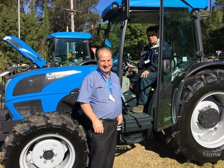 Paul Pintaudi of Small Horse Tractors, Dandenong, VIC and in cabin, Matthew Giordano, Seville Tractors, VIC