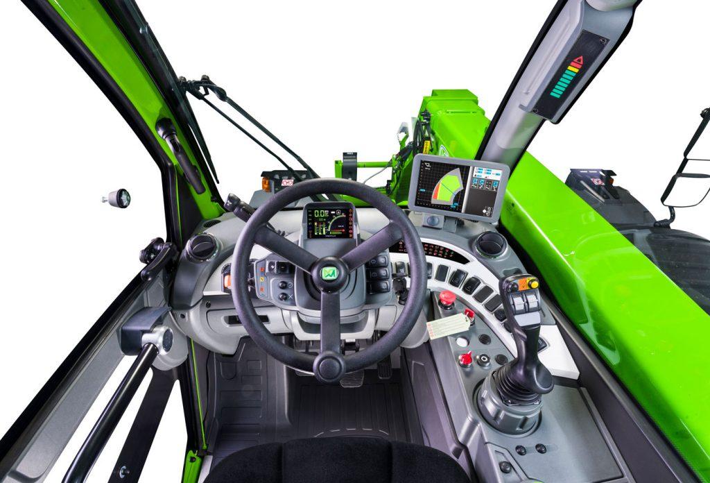 inside merlo cab joystick and steering wheel